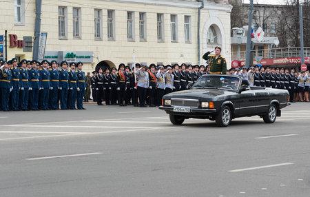 rehearsal: NIZHNY NOVGOROD, RUSSIA - MAY 4, 2015: Rehearsal of Military Parade commemorating the 70th anniversary Victory on Pozharsky and Minin Square