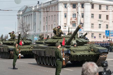 minin: NIZHNY NOVGOROD, RUSSIA - MAY 4, 2015: Military vehicles on rehearsal of Military Parade commemorating the 70th anniversary Victory on Pozharsky and Minin Square