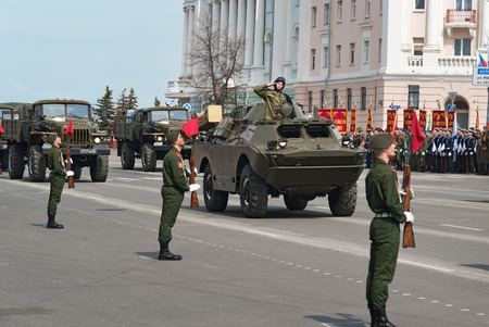 minin: NIZHNY NOVGOROD, RUSSIA - MAY 4, 2015: Military vehicles on rehearsal of Military Parade commemorating the 70th anniversary Victory on Pozharsky and Minin Square