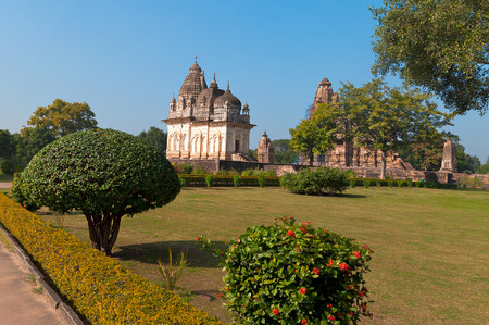 khajuraho: Pratapeshwar Temple and Vishvanath temple. Western temples of Khajuraho. Madhya Pradesh. India. Built around 900-1050