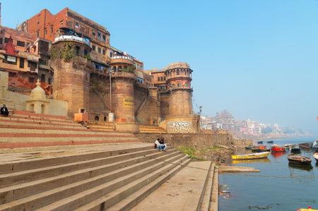 ghat: VARANASI, INDIA - DEC 23, 2014: Sankatha Ghat  in Varanasi on the Ganges River. Uttar Pradesh. Varanasi  is the holiest of the seven sacred cities in Hinduism and Jainism.
