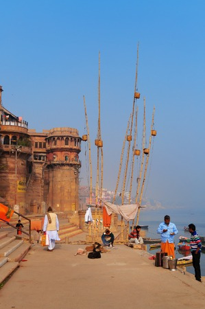 uttar: VARANASI, INDIA - DEC 23, 2014: Sankatha Ghat  in Varanasi on the Ganges River. Uttar Pradesh. Varanasi  is the holiest of the seven sacred cities in Hinduism and Jainism.