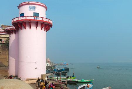 varanasi: VARANASI, INDIA - DEC 23, 2014: Jalasen Ghat  in Varanasi on the Ganges River. Uttar Pradesh. Varanasi  is the holiest of the seven sacred cities in Hinduism and Jainism.