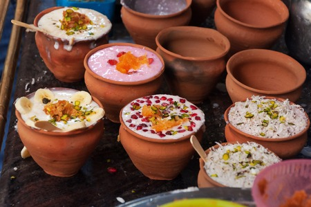city road: Indian popular drink lassi on the street