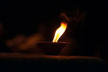 uttar: Candle for Ganga Aarti ritual. Varanasi. Uttar Pradesh, India