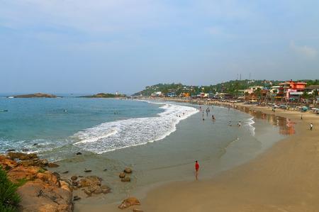 Uitzicht op het strand Vuurtoren in Kovalam. Kerala. Indië Stockfoto