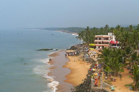 Uitzicht op de Samudra strand in Kovalam. Kerala. Indië