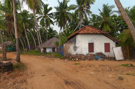 kovalam: House in Fishing village. Kovalam. Kerala. India Stock Photo