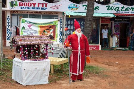 varkala: KOVALAM, INDIA - DEC 28, 2014: Santa Claus on the Samudra beach in Kovalam. Kerala. India