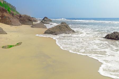 varkala: View of Varkala sand beach. Kerala. India Stock Photo