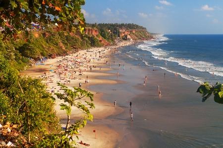 varkala: View of Varkala beach from cliff. Kerala. India
