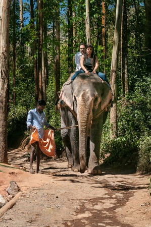 south india: MUNNAR, INDIA - JAN 4, 2015: Elephant Arrival Spot. Tourists ride an elephant. It is a popular tourist attraction Editorial