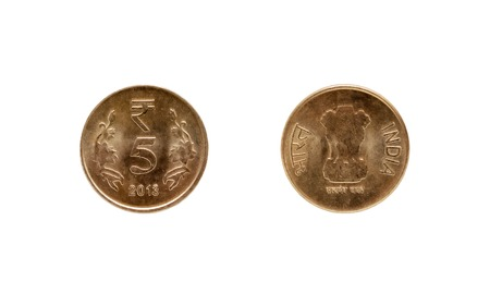 five rupee: Five Indian Rupee coin isolated on white background Stock Photo