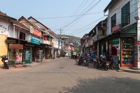 kochi: Fort Kochi, India - Jan 7, 2015: Princess street in Fort Kochi. Fort Kochi is a region in the city of Kochi in the state of Kerala, India.