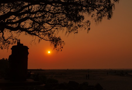 kochi: Sunset on the beach in Fort Kochi. Kerala. India