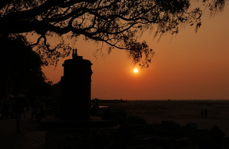 kerala: Sunset on the beach in Fort Kochi. Kerala. India