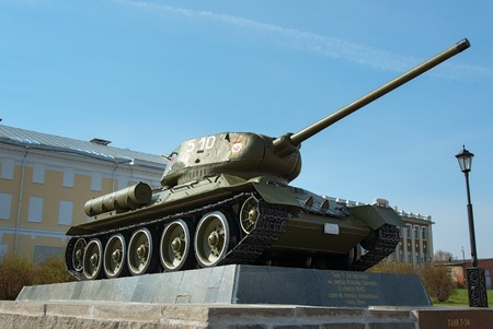 t34: Nizhny Novgorod, Russia - May 2, 2015: Tank T-34 in the territory of the Nizhny Novgorod Kremlin. Exhibition of military equipment of times of World War II