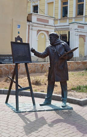 proclamation: Nizhny Novgorod, Russia - May 2, 2015: Sculpture artist Konstantin Makovsky with easel for painting work Minin Proclamation 1893 at Rozhdestvenskaya street. This street contains a lot of XIXth century buildings in rather good condition.