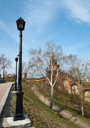 lasted: Nizhny Novgorod, Russia - May 2, 2015: Nizhny Novgorod Kremlin. Kremlin is a historical centre of Nizhny Novgorod. Nizhny Novgorod Kremlin erection in its present appearance was started in 1500 and lasted for 15 years