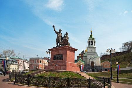 novgorod: Nizhny Novgorod, Russia - May 2, 2015: Minin and Pozharsky monument near Kremlin. Nizhny Novgorod is the fifth largest city in Russia