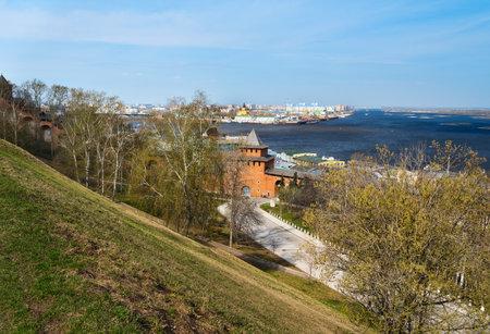 bridge: Wall and tower of Nizhny Novgorod Kremlin. Russia Editorial