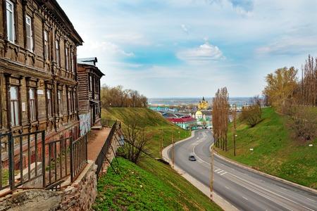 nizhni novgorod: View of road and old wood house in Nizhny Novgorod. Russia