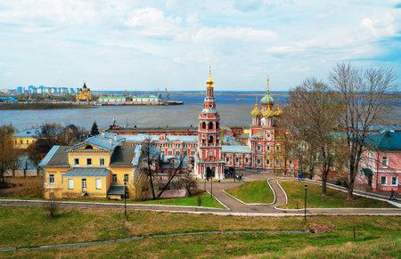 oka: View Stroganov church in Nizhny Novgorod. Russia