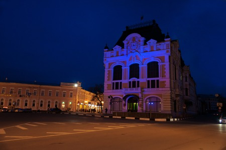 minin: Nizhny Novgorod, Russia - May 2, 2015: View of Minin and Pozharsky Square at night.  Nizhny Novgorod is the fifth largest city in Russia