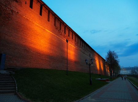 grass: View of Nizhny Novgorod Kremlin wall at night. Russia
