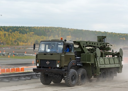 Nizhny Tagil, Russia - Sept 11, 2015:  Missile Transloader NPP Start 22T6 at firing range. Display of fighting opportunities of arms and military equipment of land forces on 10 Russia Arms Expo
