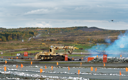 clearer: Nizhny Tagil, Russia - Sept 11, 2015: Armoured deminer BMR-3M  at the firing range.  Display of fighting opportunities of arms and military equipment of land forces on 10 Russia Arms Expo 2015