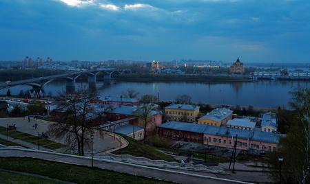 nizhni novgorod: View of Nizhny Novgorod. Kanavinsky bridge. In the late evening. Russia