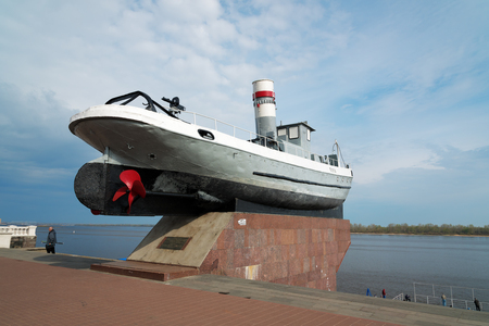 former years: Nizhny Novgorod, Russia - May 4, 2015: Monument of the boat Hero on Lower Volga river embankment. It is former part of the Volgian military fleet, which took part in the Battle at Stalingrad during the Great Patriotic War years