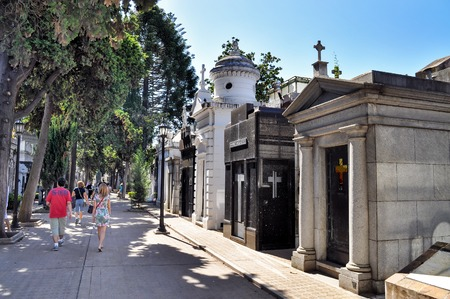 Buenos Aires, Argentina- Jan 20, 2011: La Recoleta Cemetery. It contains the graves of notable people, including Eva Perón, presidents of Argentina, Nobel Prize winners, the founder of the Argentine Navy, and a granddaughter of Napoleon