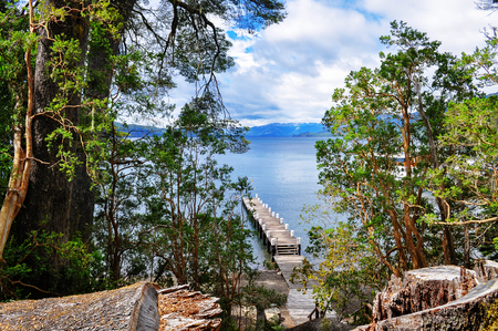 lake nahuel huapi: Wooden pier in Los Arrayanes National Park. San Carlos de Bariloche. Argentina