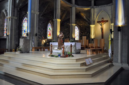 carlos: San Carlos De Bariloche , Argentina - Jan 21, 2011: Inside of Church of Our Lady of Nahuel Huapi. Bariloche Cathedral. Editorial
