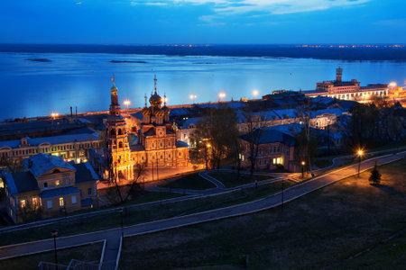 oka: Nizhny Novgorod, Russia - May 3, 2015: Night view Stroganov church in Nizhny Novgorod late evening.