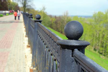 upper: Fencing of upper Volga embankment in Nizhny Novgorod. Russia