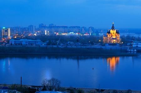 novgorod: View of Alexandr Nevsky Cathedral at night. Nizhny Novgorod. Russia Stock Photo