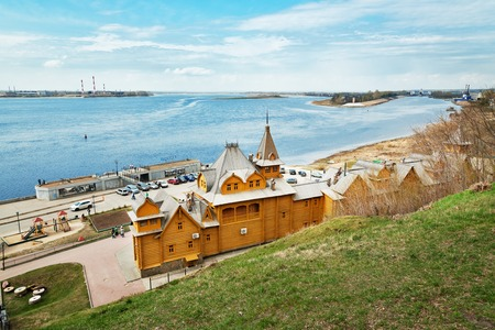 the volga river: Gorodets,  Russia - May 3, 2015: Complex City of Craftsmen on he banks of the Volga River. Gorodets is the oldest city in the Nizhny Novgorod region, the center of folk art and museum city. Editorial