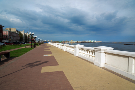 embankment: Nizhny Novgorod, Russia - May 3, 2015: View of Lower Volga embankment  in Nizhny Novgorod. Nizhny Novgorod is the fifth largest city in Russia