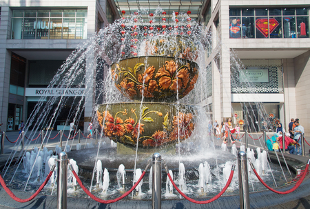 bukit: Kuala Lumpur, Malaysia - Jan 07, 2016: Pavilion crystal fountain at at the Bukit Bintang entrance of Pavilion shopping mall Editorial