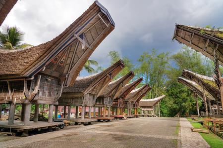 traditional house: Tongkonan traditional rice barns and house in Kete Kesu village. Tana Toraja, Sulawesi. Indonesia