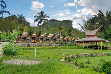 toraja: Tongkonan traditional village Kete Kesu. Tana Toraja, Sulawesi. Indonesia Stock Photo