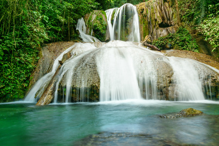 rainforest: Saluopa Waterfall in Tentena. Central Sulawesi. Indonesia Stock Photo