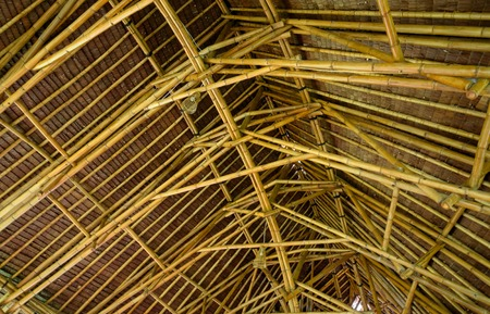 bamboo house: ceiling made of bamboo in Bamboo  House Stock Photo