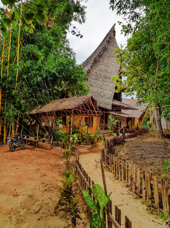 bamboo house: Tentena, Indonesia - Dec 12, 2015: Bamboo House by the Poso lake, built predominantly using bamboo. Its designed by Effan Adhiwira.
