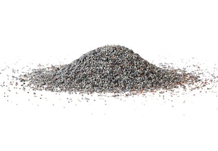 oilseed: Pile of poppy seeds on white background