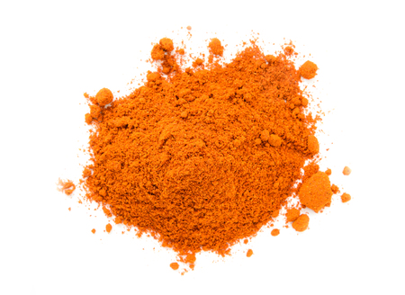 spice: Pile of Masala Powder for fish, meat, chicken,  vegetables on white background. Indian spice mix Stock Photo
