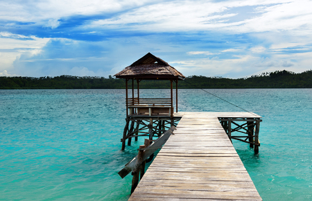 wooden dock: Wooden Dock on Togean Islands or Togian Islands in the Gulf of Tomini. Central Sulawesi. Indonesia